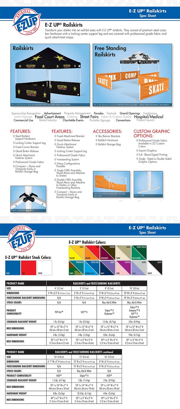 A Steele Ez Up Canopy Tent Rail Skirts 10 Order 2 For 20